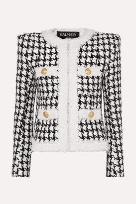 Balmain Button-embellished Houndstooth Tweed Blazer - Black