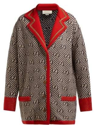 Gucci Gg Jacquard Wool Blend Cardigan - Womens - Beige Multi