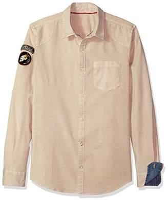 Buffalo David Bitton Men's Silvur Long Sleeve Regular Fit Stretch Button Down Shirt
