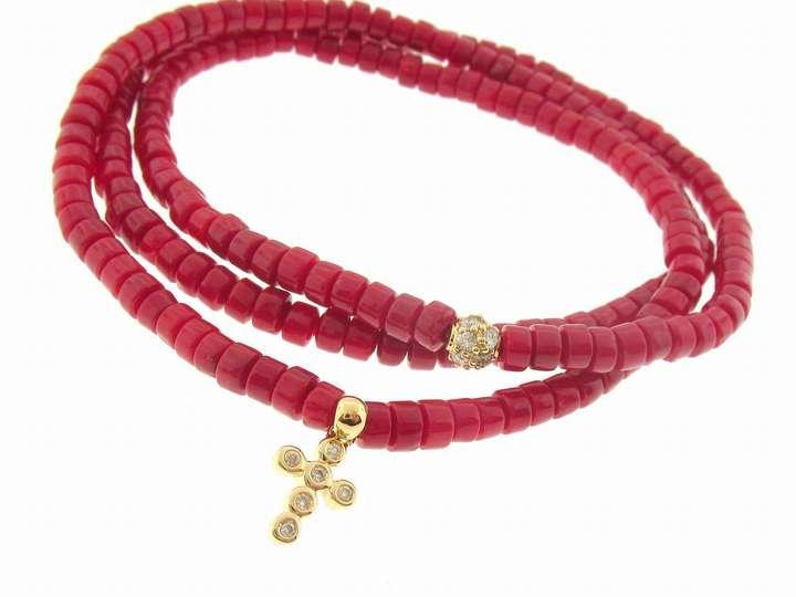 Sydney Evan Barrel Coral Wrap Bracelet with Cross and Pave Diamond Bead
