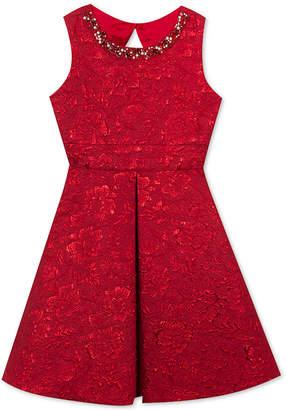 Rare Editions Big Girls Embellished Neck Brocade Dress
