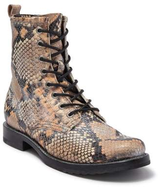 Frye Veronica Snakeskin Embossed Leather Combat Boot