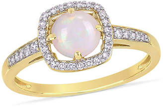 FINE JEWELRY Womens 1/7 CT. T.W. Genuine White Opal 10K Gold Cocktail Ring