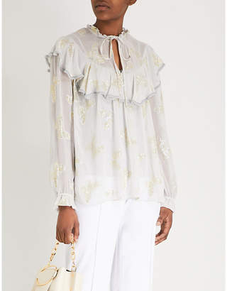 NEEDLE AND THREAD Metallic-butterfly chiffon top