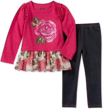 Kids Headquarters Baby Girls 2-Pc. Rose Tunic & Denim Leggings Set