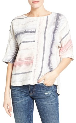 Women's Caslon V-Back Linen Top $59 thestylecure.com