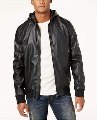 Lrg Men's Faux-Leather Hooded Bomber Jacket