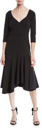 Halston V-Neck Midi Dress w/ Flounce Skirt
