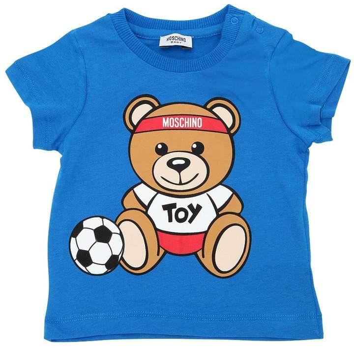 Soccer Bear Print Cotton Jersey T-Shirt