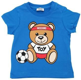 Moschino Soccer Bear Print Cotton Jersey T-Shirt