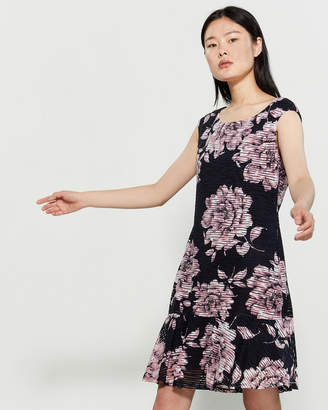 Connected Apparel Floral Print Flounce Dress