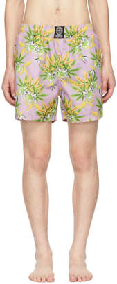 SSS World Corp Pink Weed and Hibiscus Milkshake Swim Shorts