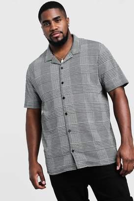 boohoo Big & Tall Revere Collared Jacquard Shirt