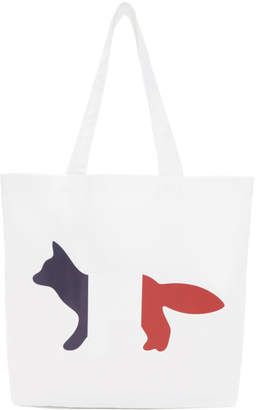 MAISON KITSUNÉ White Fox France Logo Tote