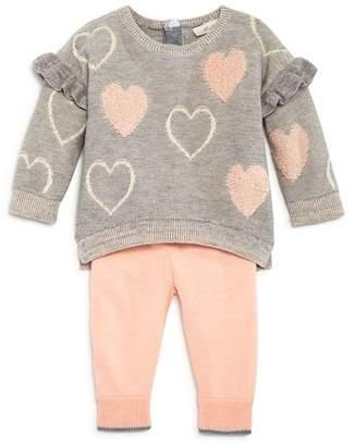 Miniclasix Girls' Ruffle Trim Heart Sweater Top & Leggings Set - Baby