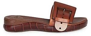 Chloé Women's Leather Buckle Platform Slides Sandals