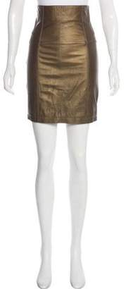 Geren Ford Leather Knee-Length Skirt
