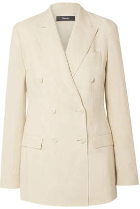 d7a3ece998 Theory Double-breasted Linen Blazer - Beige