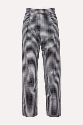 Wright Le Chapelain - Checked Wool Wide-leg Pants - Navy