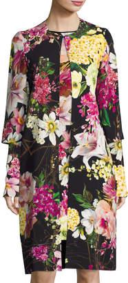 Naeem Khan Floral-Print 3/4-Sleeve Coat, Black