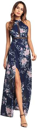 Eleter Women's Halter Neck Floral Print Backless Split Beach Party Maxi Chiffon Dress(M,Blue1)