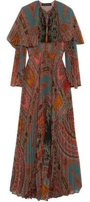 Etro Cape-Effect Pleated Printed Georgette Maxi Dress