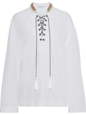 Etro Lace-up Embellished Cotton-poplin Tunic