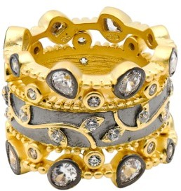 Women's Freida Rothman Fleur Bloom Set Of 3 Stack Rings $250 thestylecure.com