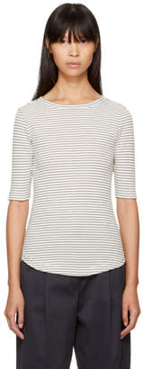 YMC Ecru and Navy Striped Charlotte T-Shirt