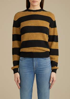 KHAITE The Viola Sweater in Black and Fawn Stripe
