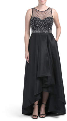 Made In Usa Hi-lo Beaded Bodice Gown