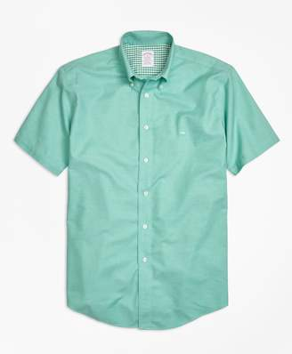 Brooks Brothers Non-Iron Madison Fit Heathered Oxford Short-Sleeve Sport Shirt