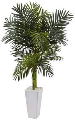 Bayou Breeze Artificial Golden Cane Floor Palm Tree in Ceramic Planter