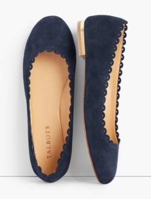 Talbots Penelope Scalloped Ballet Flats-Kid Suede