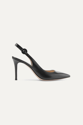 Gianvito Rossi Anna 85 Leather Slingback Pumps - Black