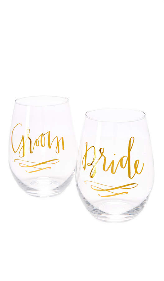 Slant Collections Bride & Groom Wine Glass Set