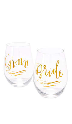 Slant Collections Bride & Groom Wine Glass Set