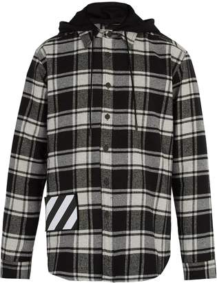 Off-White Checked cotton-blend hooded shirt