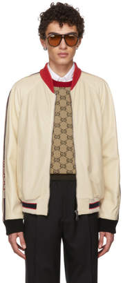Gucci White Perforated Leather Bomber Jacket
