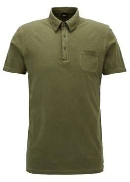 BOSS Hugo Garment-Dyed Cotton Polo Shirt, Regular Fit Purpose XXL Dark Green