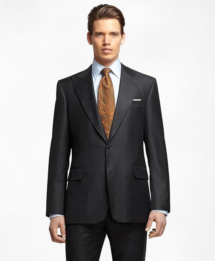 Brooks Brothers Regent Fit Saxxon Wool Bead Stripe 1818 Suit