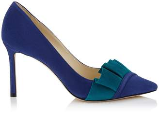 Jimmy Choo LEENA 85 Pop Blue Suede Pump with Teal Suede Frill