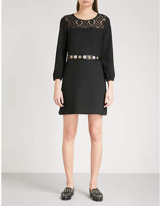 Claudie Pierlot Lace-panel crepe dress