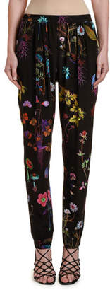Stella McCartney Floral Silk Tapered-Leg Pants