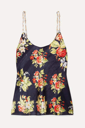 Paco Rabanne Chain-trimmed Floral-print Chiffon Camisole - Black