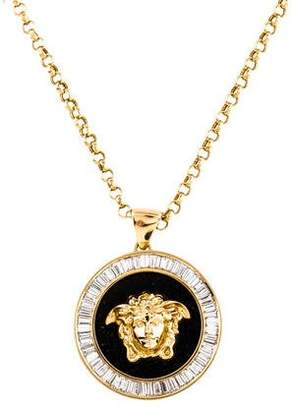 Versace 18K Diamond & Onyx Medusa Head Pendant Necklace