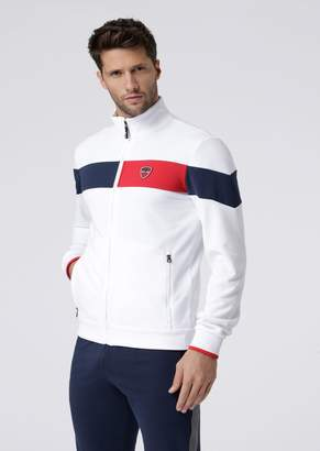 Emporio Armani Ea7 Full-Zip Sweatshirt With Contrast Bands And Championship Badge
