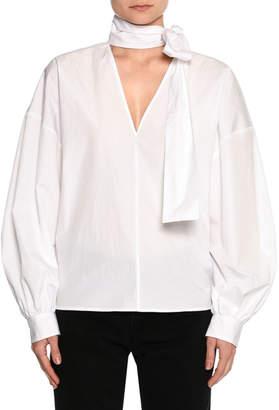 MSGM Poplin Long-Sleeve Tie-Neck Blouse, White
