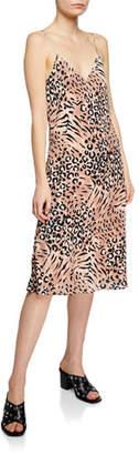 Paige Cicely Animal-Print V-Neck Spaghetti-Strap Slip Dress