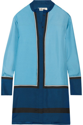 Diane von Furstenberg - Silk-twill Mini Shirt Dress - Blue $500 thestylecure.com